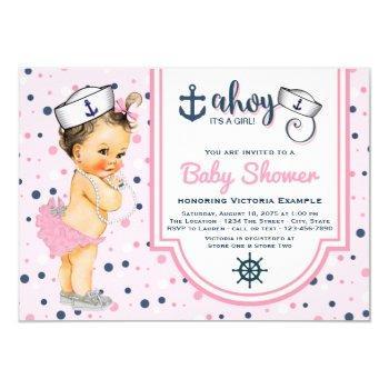 Girls Pink Navy Blue Nautical Baby Shower Invitation
