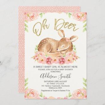 Girls Rustic Floral Deer Baby Shower Invitation