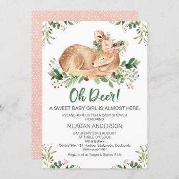 Girls Rustic Oh Deer Baby Shower Invitation