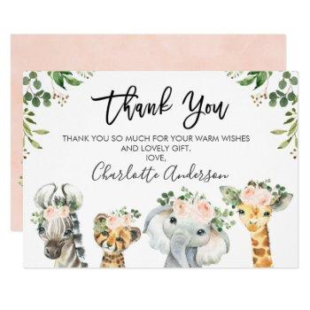 Girls Safari Animals Baby Shower Thank You Card
