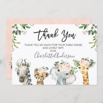 Girls Safari Animals Baby Shower Thank You Card