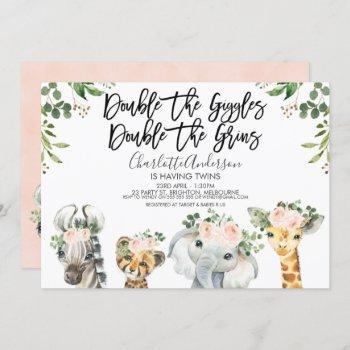 Girls Safari Animals Twins Baby Shower Invitation