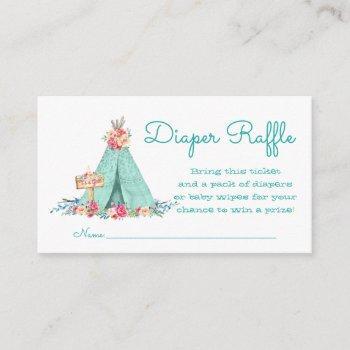 Girls Teepee Diaper Raffle Tickets Enclosure Card