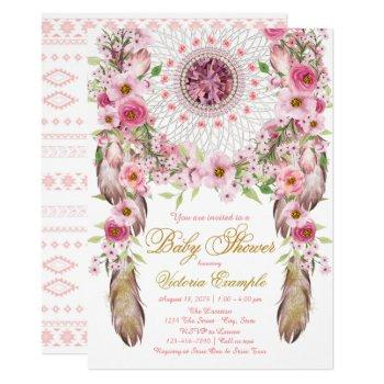 Girls Tribal Dreamcatcher Baby Shower Invitation