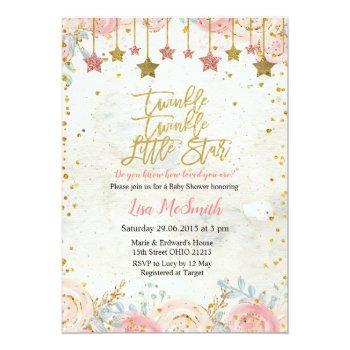 Girls Twinkle Little Star Baby Shower Invitation