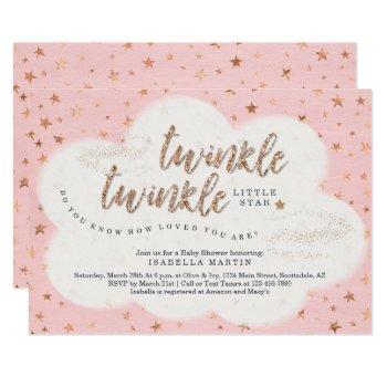 Girls Twinkle Twinkle Little Star Baby Shower Invitation