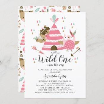 Girls Wild One Baby Shower Invitation