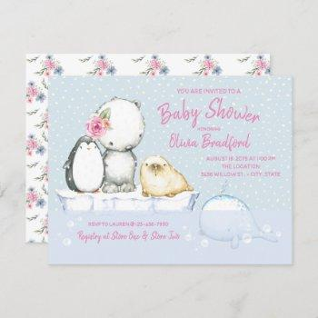 Girls Winter Baby Shower Invitations