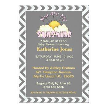 Girls You Are My Sunshine Baby Shower Invitation