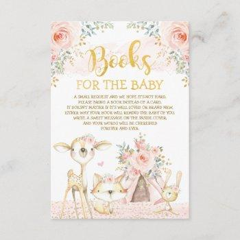 Girly Blush Floral Woodland Animals Books For Baby Enclosure Card
