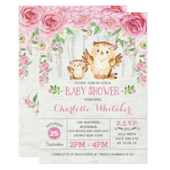 Girly Woodland Owl Pink Floral Baby Shower Invite