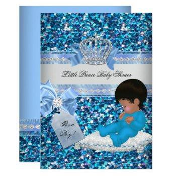 Glitter Baby Shower Boy Blue Little Prince Crown 3 Invitation