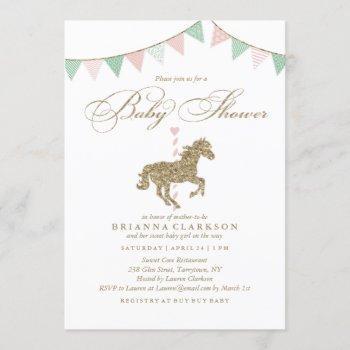 Glitter Carousel Horse | Baby Shower