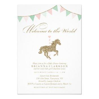 Glitter Carousel Horse | Welcome To The World Baby Invitation