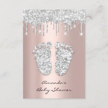 Glitter Drips Rose Gray Baby Girl Shower Feet