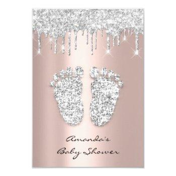 Glitter Drips Rose Gray Baby Girl Shower Feet Invitation