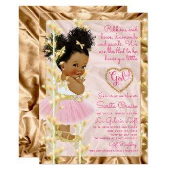 Glitter Gold & Pink Girl Baby Shower Ethnic Invitation