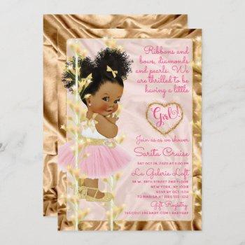 Glitter Gold & Pink Girl Baby Shower Ethnic Invitation