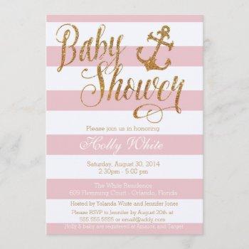 Glitter Nautical Girl Baby Shower