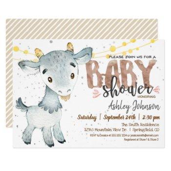 Goat Baby Shower Invitation, Boy, Farm Invitation
