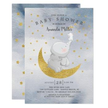 Gold Catch A Star Bunny Elephant Baby Boy Shower Invitation