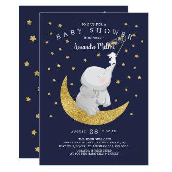 Gold Catch A Star Bunny Elephant Baby Shower Invitation