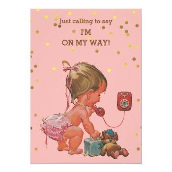 Gold Confetti Vintage Baby On Phone Baby Shower Invitation