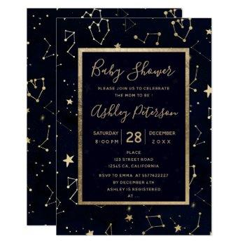 Gold Constellation Star Navy Blue Baby Shower Invitation