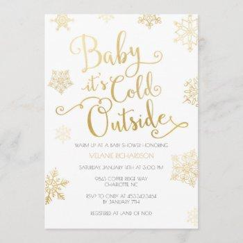 Gold & Coral Baby It's Cold Outside Shower Invite