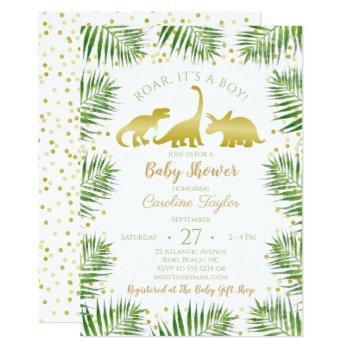 Gold Dinosaur Tropical Greenery Baby Shower Invitation