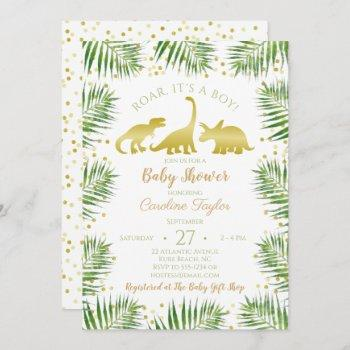 Gold Dinosaur Tropical Greenery Baby Shower Invitation