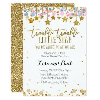 Gold Gender Reveal Invitation