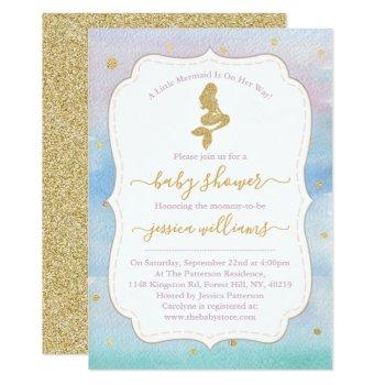 Gold Glitter Mermaid Baby Shower Invitation
