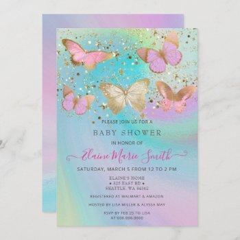 Gold Glitter Pink Purple Butterflies Baby Shower Invitation