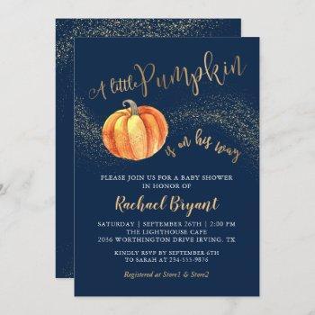 Gold Glitter Pumpkin Navy Blue Boy Baby Shower Invitation