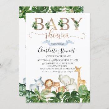 Gold Green Safari Animals Baby Shower Invitation