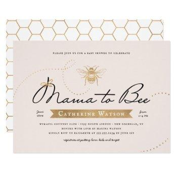 Gold Mama To Bee Baby Shower Invitation