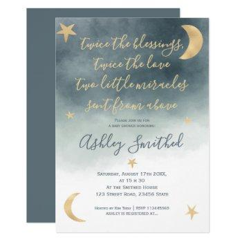 Gold Moon Stars Blue Watercolor Twins Baby Shower Invitation