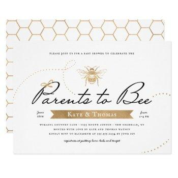 Gold Parents To Bee Baby Shower Invitation