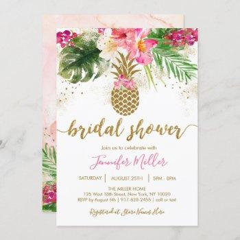 Gold Pineapple Floral Tropical Bridal Shower Invitation
