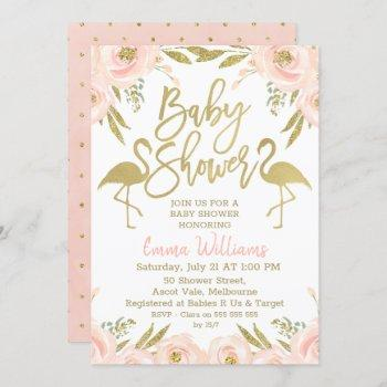 Gold Pink Flamingo Baby Shower Invitation