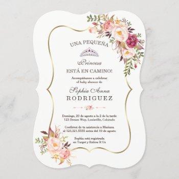 Gold Pink Floral Invitación De Baby Shower