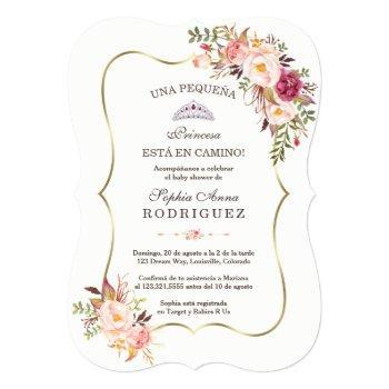 Gold Pink Floral Invitación De Baby Shower Invitation