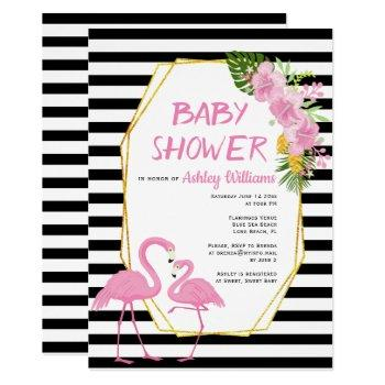 Gold Polygon And Pink Flamingos Baby Shower Invitation