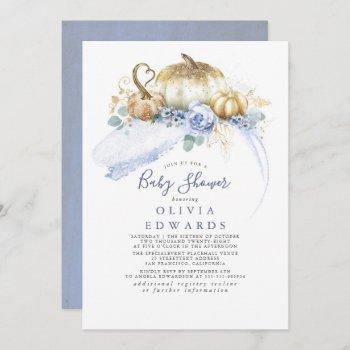 Gold Pumpkins Dusty Blue Floral Fall Baby Shower