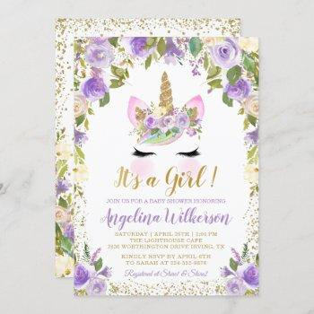 Gold Purple Floral Unicorn Baby Shower