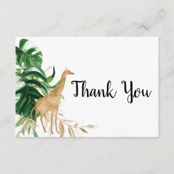 Gold Safari Baby Shower Thank You Card