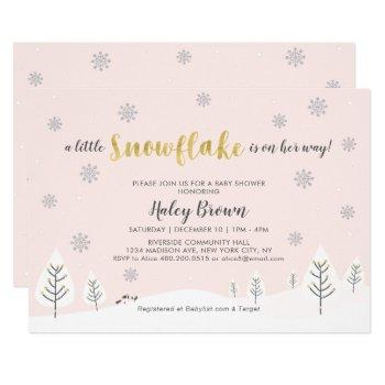 Gold, Silver & Pink Winter Wonderland Baby Shower Invitation