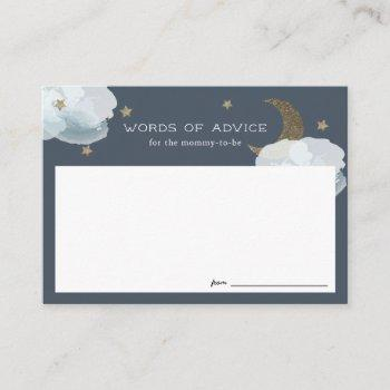 Gold Stars & Moon Baby Shower Advice Cards