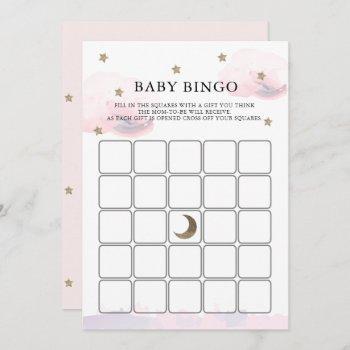 Gold Stars Pink Clouds Baby Shower Bingo Game Card